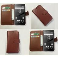 Sony Xperia Z5 - Wallet Bookstyle Case Lederlook Bruin