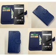 Sony Xperia Z5 Premium - Wallet Bookstyle Case Lederlook Blauw
