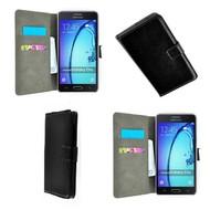 Samsung Galaxy On5 - Wallet Bookstyle Case Lederlook Zwart