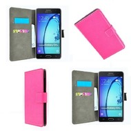 Samsung Galaxy On5 - Wallet Bookstyle Case Lederlook Roze