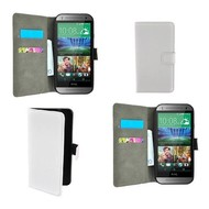 Htc One M8s - Wallet Bookstyle Case Lederlook Wit