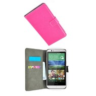 HTC Desire 510 - Wallet Bookstyle Case Lederlook Roze