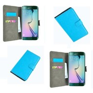 Samsung Galaxy S6 Edge - Wallet Bookstyle Case Lederlook Turquoise
