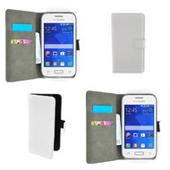 Samsung Galaxy Young 2 - Wallet Bookstyle Case Lederlook Wit