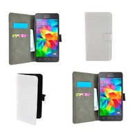 Samsung Galaxy Grand Prime VE - Wallet Bookstyle Case Lederlook Wit