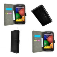 Motorola Moto E - Wallet Bookstyle Case Lederlook Zwart