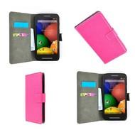 Motorola Moto E - Wallet Bookstyle Case Lederlook Roze