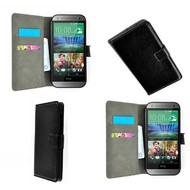 HTC One M7 - Wallet Bookstyle Case Lederlook Zwart