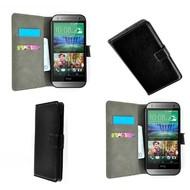 HTC One M8 - Wallet Bookstyle Case Lederlook Zwart
