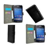 Samsung Galaxy Trend Lite (Fresh) - Wallet Bookstyle Case Lederlook Zwart