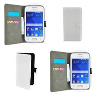 Samsung Galaxy Young - Wallet Bookstyle Case Lederlook Wit