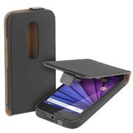Motorola Moto G Turbo Edition - Flip Case Cover Hoesje Lederlook Zwart