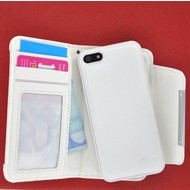 Apple iPhone 5 / 5S - Wallet Bookstyle Case Uitneembaar Hoesje Wit