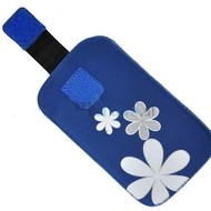 Samsung Galaxy S3 Mini - Insteekhoesje Cover Blauw Bloemdesign