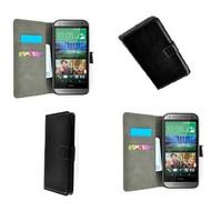 HTC One Mini 2 - Wallet Bookstyle Case Lederlook Zwart