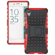 Sony Xperia X - Schokbestendige Case Cover met Standfunctie Tweedelig Rood/Zwart