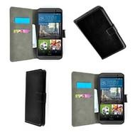 HTC One M9s - Wallet Bookstyle Smartphone Case Lederlook Zwart