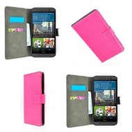 HTC One M9s - Wallet Bookstyle Smartphone Case Lederlook Roze