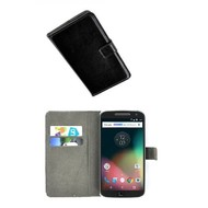 Motorola Moto G4 Plus - Smartphone Hoesje Wallet Bookstyle Case Lederlook Zwart