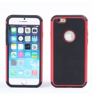 Apple iPhone 6s - Smartphone Shockproof Siliconen Armor Case Tweedelig Rood/Zwart