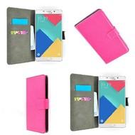 Samsung Galaxy A9 Pro - Smartphonehoesje Wallet Bookstyle Case Lederlook Roze