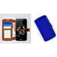LG K8 - Smartphonehoesje Wallet Bookstyle Case Lederlook Blauw