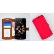 LG K8 - Smartphonehoesje Wallet Bookstyle Case Lederlook Roze