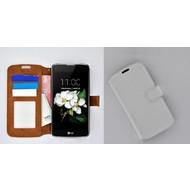 LG K7 - Smartphonehoesje Wallet Bookstyle Case Lederlook Wit