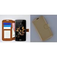 LG K5 - Smartphone Hoesje Wallet Bookstyle Case Lederlook Goud