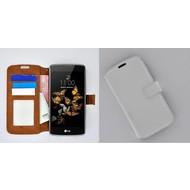 LG K5 - Smartphone Hoesje Wallet Bookstyle Case Lederlook Wit