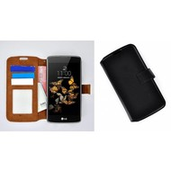 LG K5 - Smartphone Hoesje Wallet Bookstyle Case Lederlook Zwart
