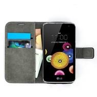 LG K4 - Smartphone Hoesje Wallet Bookstyle Case Lederlook Zwart