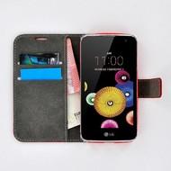 LG K4 - Smartphone Hoesje Wallet Bookstyle Case Lederlook Rood