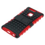 Huawei P9 Plus - Smartphone Hoesje Shockproof Case tweedelig met standfunctie rood/zwart