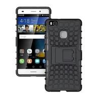 Huawei P9 - Smartphone Hoesje Shockproof Case tweedelig met standfunctie zwart