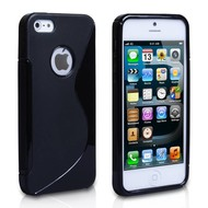 Apple iPhone 5 / 5S - Smartphonehoesje Tpu Siliconen Case Hoesje S-Style Zwart
