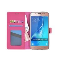 Samsung Galaxy J7 2016 - Smartphonehoesje Wallet Bookstyle Case Lederlook Roze