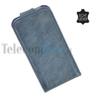 Apple iPhone SE - Smartphone hoesje Flip Case Cover Echt Leder Blauw