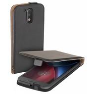 Motorola Moto G4 - Flipcase Cover Smartphone Hoesje Lederlook Zwart