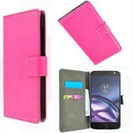 Motorola Moto Z - Wallet Bookstyle Smartphone Case Lederlook Roze