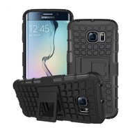 Samsung Galaxy S6 Edge - Smartphone Hoesje Shockproof Case tweedelig met standfunctie zwart