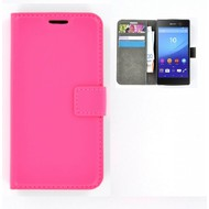 Sony Xperia M5 - Smartphone Hoesje Wallet Bookstyle Case Lederlook Roze