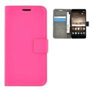Effen Bookcase Wallet Hoesje voor Huawei Mate 9 - Roze