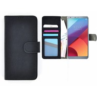 Zwart Wallet Bookcase Portemonnee Hoesje LG G6