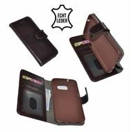 Luxe Wallet Bookcase Echt Leer Hoesje Samsung Galaxy S7 - Donkerbruin