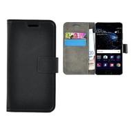 Zwart Effen Wallet Bookcase Hoesje Huawei P10