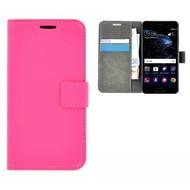 Roze Effen Wallet Bookcase Hoesje Huawei P10