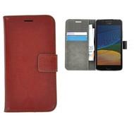 Bruin Effen Wallet Bookcase Hoesje Motorola Moto G5