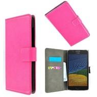 Roze Wallet Bookcase P Hoesje voor Motorola Moto G5