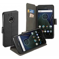 Luxe Y Wallet Bookcase Zwart Hoesje voor Motorola Moto G5 Plus